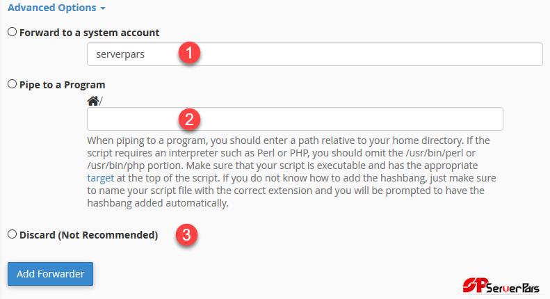 ایجاد ایمیل Forwarder در Cpanel